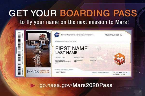 پاسپورت برای مریخ ، نام شما به فضا فرستاده می گردد